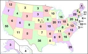 Map showing the number of electors by state.